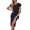 women's deep v-neck long sleeve maxi dresses