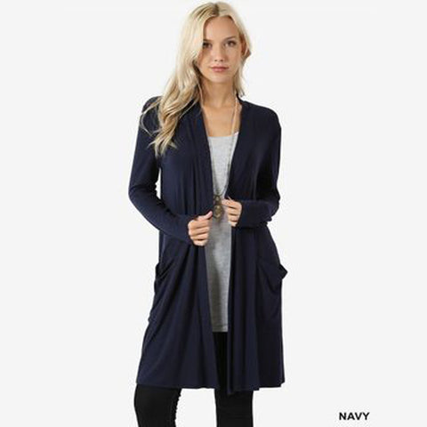 Navy Long Sleeve Open Front Cardigan With Pockets