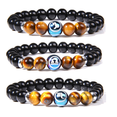 12 Zodiac Bracelet | Natural Tiger Eye Stone