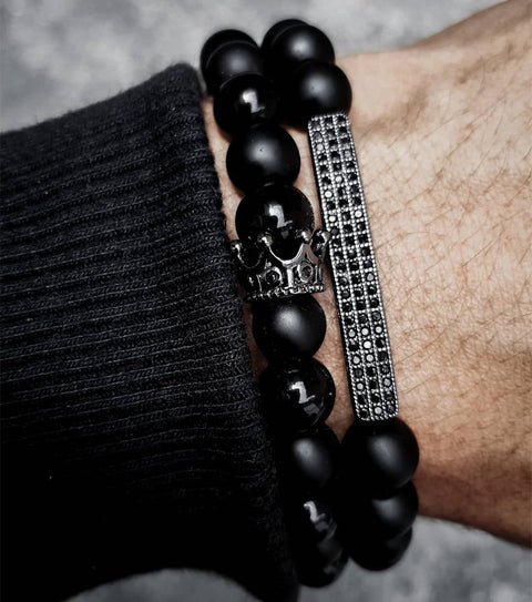 New Classic Crown Rectangle Beads Bracelet Men