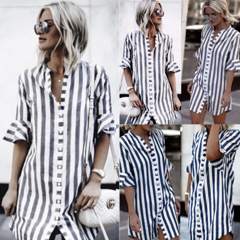 women's loose short sleeve striped printed shirt dress