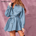 Blue PU Leather Short Dress With Belt