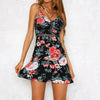 women's spaghetti strap backless floral printed mini dress