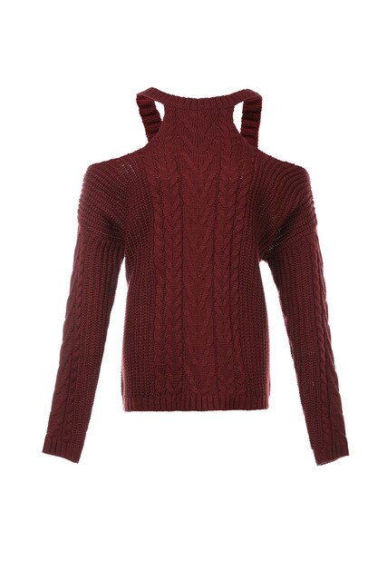 Burgundy Sexy Off Shoulder Round Neck Long Sleeve Solid Color Sweater