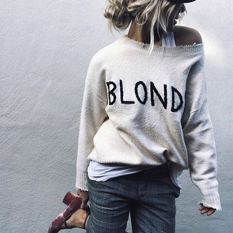 Casual Letters Print Round Neck Long Sleeve Loose Sweater