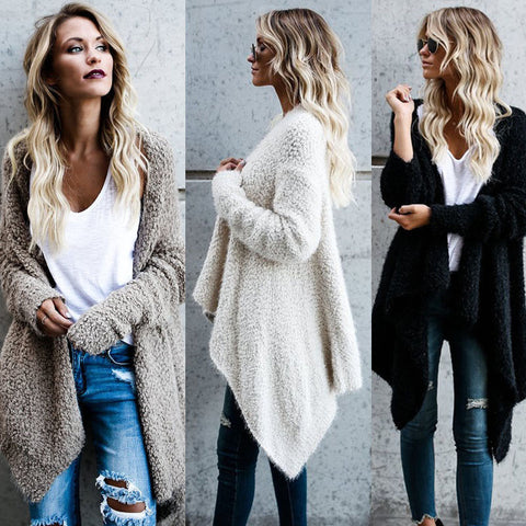 Women's Fashion Long Sleeve Open front Loose Fit Solid Cardigan