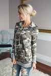 Women's Camo Graphic Hooded Pullover Sweatshirt