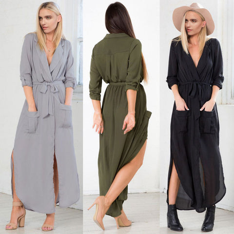 women's fashion loose long sleeve slit day dress