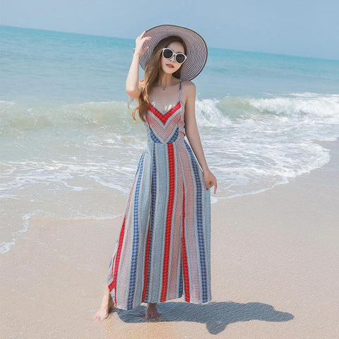 women's slit backless lace up boho maxi dress