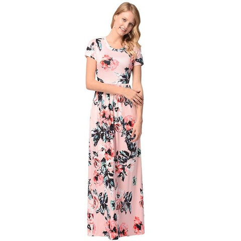 women's floral printed short sleeve maxi dress