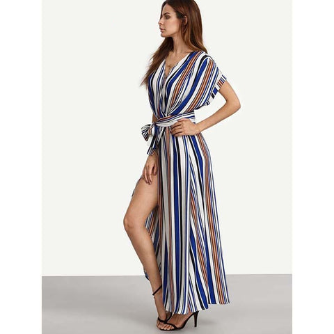 women's casual v neck striped printed slit plus size maxi dress