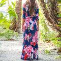 women's casual v-neck half sleeve floral printed maxi dress