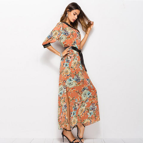 women's fashion off shoulder boho floral maxi dress