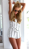 sexy slim striped color blocked waist tie sleeveless v neck women romper