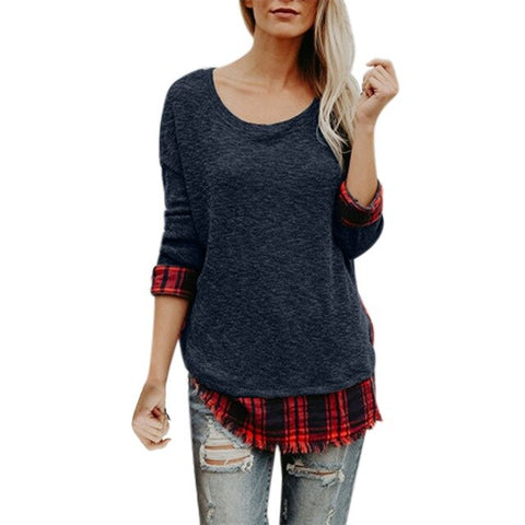 The tee shirt is featuring round neck, long sleeve, plaid panel, color block.