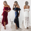 Women's Fashion Crop Top Lace 2 Piece Mermaid Skirt Set Dress Outfit