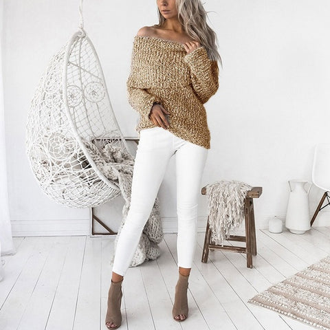 elegant slash neck long sleeve solid color sweater