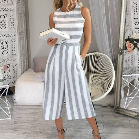 Women's Fashion Sleeveless Striped Backless Strappy Wide Leg Jumpsuit
