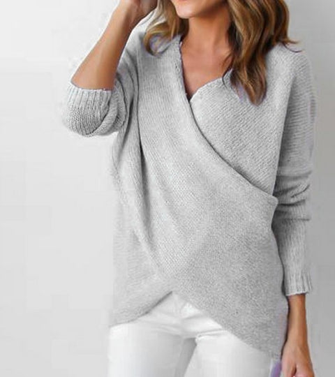 Fashion V Neck Long Sleeve Solid Splicing Pullover Sweater