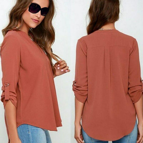 Women's V Neck Long Sleeve Loose Cotton Chiffon Blouse