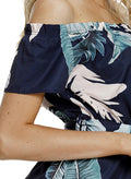 Tropical Leaf Print Navy Off Shoulder Summer Dress
