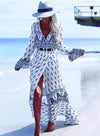 Vintage Summer Boho Print V Neck Long Sleeve Asymmetric Dress