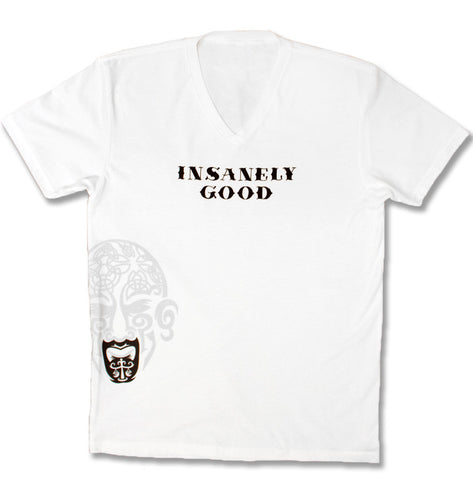 Insanley Good Mens V-neck T - White