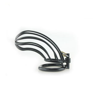 "Chastity Cage Metal - ""Black Steel Long"" One Size Fits Most"