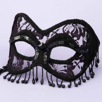 Venetian Half Mask Black Lace with Beads