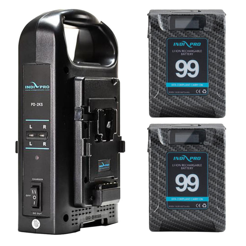 2x Micro Alpha Series 99Wh V-Mount Li-Ion Batteries (Carbon Fiber Color) and Dual V-Mount Battery Charger Kit