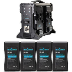 4x Compact 95Wh V-Mount Li-Ion Batteries and Quad V-Mount Battery Charger Kit