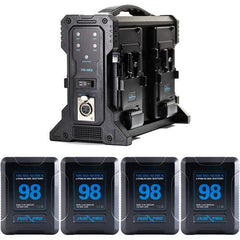 4x Micro-Series 98Wh V-Mount Li-Ion Batteries and Quad Pro V-Mount Battery Charger Kit