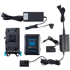 98Wh V-Mount Battery and Complete Power Kit for Canon LP-E6 Devices