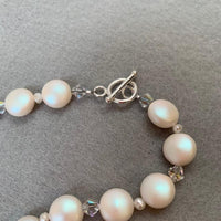PEARLESCENT WHITE COIN PEARLS NECKLACE