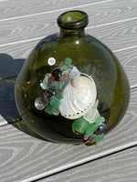 GREEN EARTHTONE SEAGLASS VASE