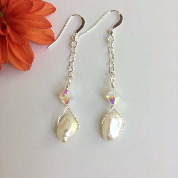 WHITE KESHI FRESHWATER PEARL EARRINGS