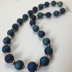Blue Druzy Agate Necklace