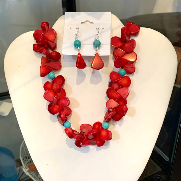 RED CORAL & HOWLITE FLUTTER NECKLACE