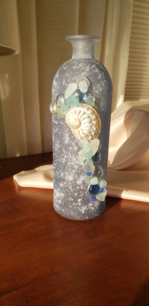 TALL SOFT BLUE DECORATIVE JAR