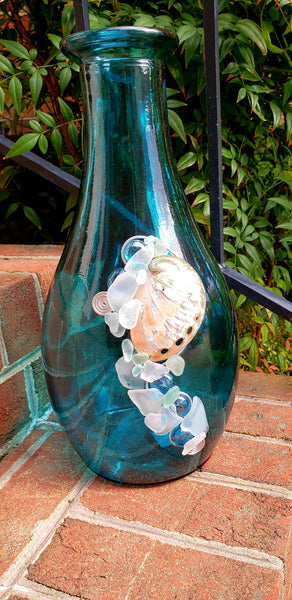 TALL COBALT SEAGLASS VASE