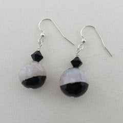 BLACK AND WHITE AGATE DANGLE EARRINGS