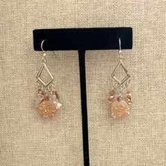 BLONDE DRUZY QUARTZ CHANDELIER EARRINGS