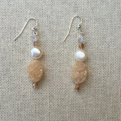 BLONDE DRUZY QUARTZ DANGLY EARRINGS