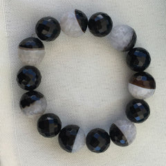 BLACK AND WHITE AGATE BRACELET
