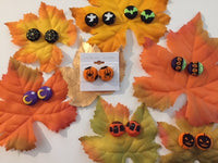 FALL THEME FABRIC BUTTON EARRINGS