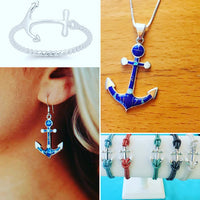 ANCHOR INLAYED STONE NECKLACES