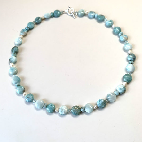 LARIMAR COIN NECKLACE