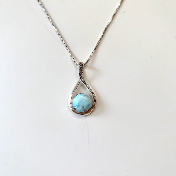 LARIMAR PENDANT AND CHAIN