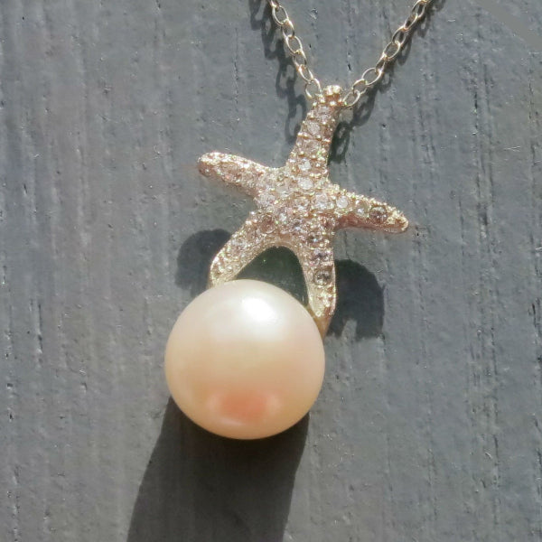PAVE STARFISH WITH PEARL