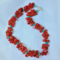 RED CORAL & TURQUOISE FLUTTER NECKLACE